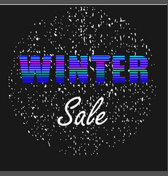 winter sale neon letters on black background vector image