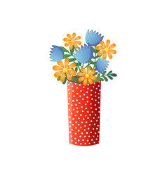 yellow and blue flowers different species in red vector image