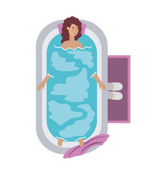 young woman in bathtub avatar character vector image