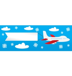 airplane with banners in the sky vector image