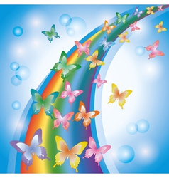 Light colorful background with butterflies rainbow vector image vector image