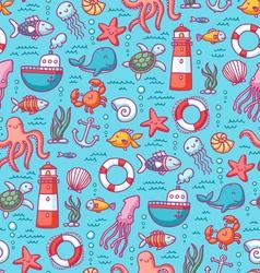 Sea doodles color pattern vector image vector image