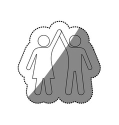 silhouette sticker of pictogram couple taken of vector image vector image