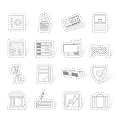 bank business finance and office icons vector image