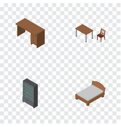 isometric furnishing set of table bedstead chair vector image