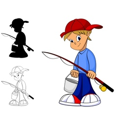 kid fishing vector image vector image