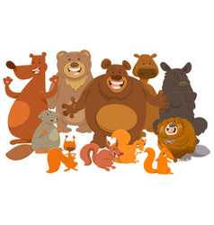 wild mammals animal characters cartoon vector image vector image