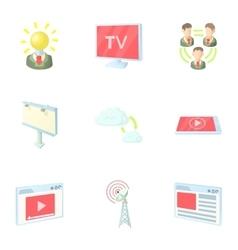 Broadcast icons set cartoon style vector