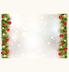 festive background with fir border red christmas vector image vector image