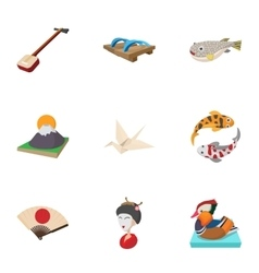 Japan icons set cartoon style vector image vector image
