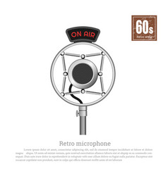 retro microphone on white background vector image