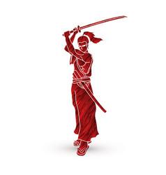 Samurai standing with sword katana ready to fight vector