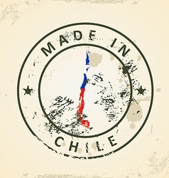 Stamp with map flag of Chile vector image