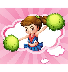 A cheerleader with green pompoms inside a cloud vector image vector image