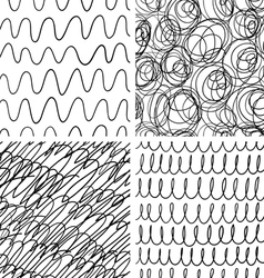Abstract scribble patterns set vector image vector image