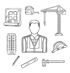 Builder or engineer profession sketches vector image vector image