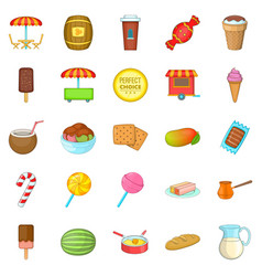 candy icons set cartoon style vector image vector image