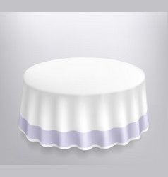 Round table with a white cloth vector image vector image