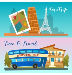 Time to Travel by Bus Euro Trip Travel banners vector image vector image