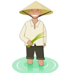 Vietnamise man with paddy in his hands vector image