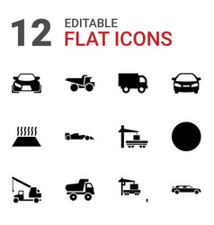 12 automobile icons vector