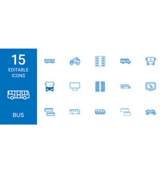 15 bus icons vector image