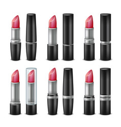 3d lipstick set black and silver tubes vector image