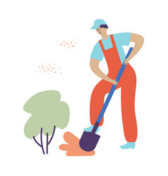 A man digs a shovel ground in a garden in a red vector