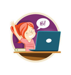 a schoolgirl at online lesson distance education vector image