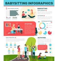 Active babysitting flat infographics vector