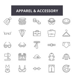 Apparel accessory stores line icons for web and vector