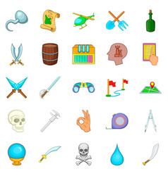 Archeology icons set cartoon style vector