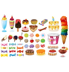 Assorted desserts and sweets vector image
