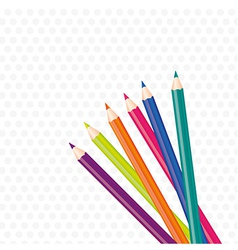 Background brightly colored pencils on gray dots vector