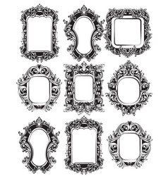 baroque mirror frames set collection vector image
