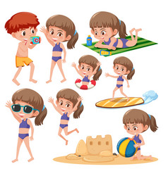 Beach girl character set vector
