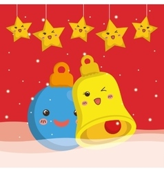 Bell sphere and star cartoon of Chistmas design vector