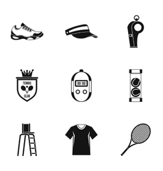 Big tennis icons set simple style vector image