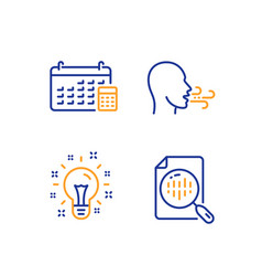 Breathing exercise idea and calendar icons set vector