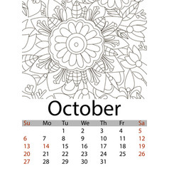 Calendar october month 2019 antistress coloring vector