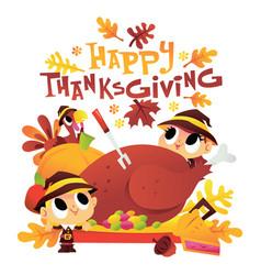Cartoon pilgrim kids around turkey dinner with vector