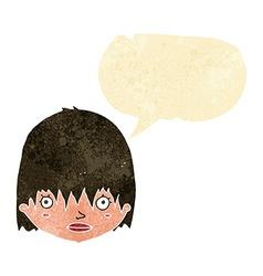 Cartoon staring woman with speech bubble vector
