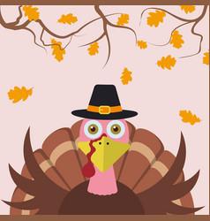 Cartoon turkey thanksgiving background vector