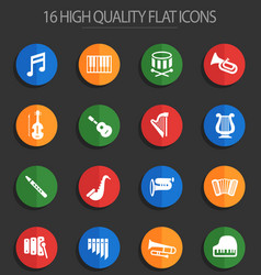 Classic instruments 16 flat icons vector