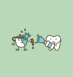 Cleaning tooth by mouthwash prevent yellow teeth vector
