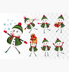 Collection cheerful snowmans christmas characters vector