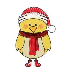 Color crayon stripe cartoon of chicken with scarf vector