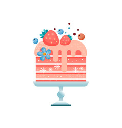 colorful flat icon of chilled pink cake vector image