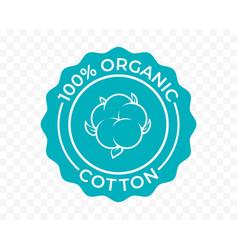 Cotton 100 organic eco icon and bio natural logo vector