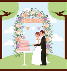 Couple cutting wedding cake arch flowers save the vector